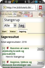 Illustration af bibliotek.dk mobil grænseflade
