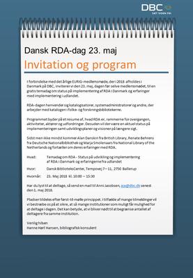 Invitation til RDA-dag på DBC den 23. maj 2018