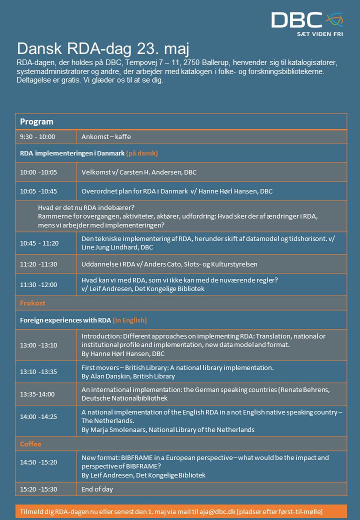 Program til RDA-dag på DBC den 23. maj 2018