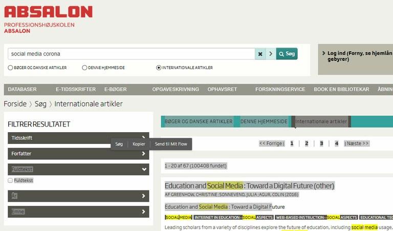 Eksempel på Artesis hjemmeside hos Professionshøjskolen Absalon