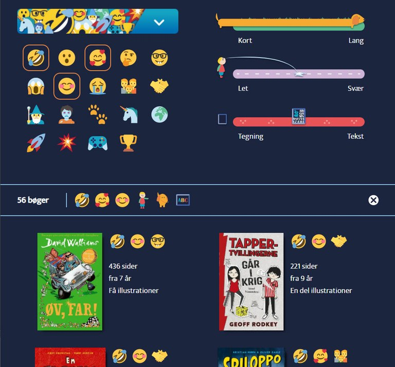 Ved hjælp af emojier og anden grafik er der i eksemplet valgt sjove, rare og romantiske bøger, der er lange, halvsvære og har en vis mængde illustrationer.
